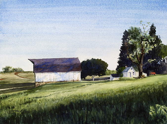 Watercolor of a rural scene at sunset